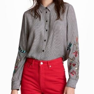 H & M Embroidered Floral Hummingbird Button Up Top